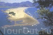 На общей картины  - фото с интернета – черепащий пляж представляет собой косу протяженностью 6 км и разделяющую Эгейское море и дельту р.Дальян