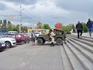А вот и можно сказать,главная достопримечательность города Мамаев курган.Возле входа стоит военная машина для желающих сделать фотоснимок.