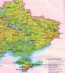 Карта Восточной Украины