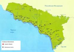 Карта курортов Абхазии