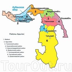 Карта Адыгеи с городами