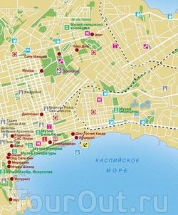 Карта Баку с достопримечательностями