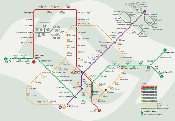 Карта метро Сингапура.