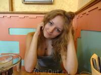 Прага, в кафе у отеля