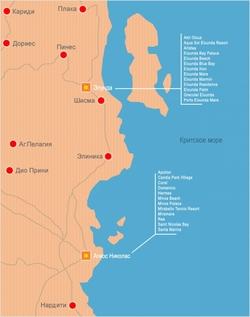 Карта Агиос Николаос с отелями