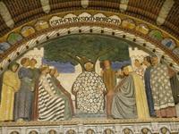 Историческая сцена на стене Ратуши.