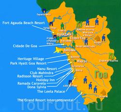 Карта Гоа с достопримечательностями