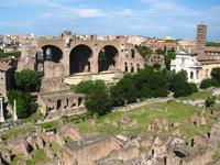 Вид с холма Палатин на форум и на базилику Максенция - самое большое здание, построенное когда-либо на римском форуме (заложена в 308 г. н.э.), высота ...