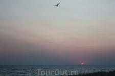 закат солнца на Кинбурнской косе. Солнышко окончательно скрылось за горизонтом. Конец дня =)