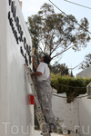 Вот так местные жители готовятся к летнему сезону, обновляют фасады своих ресторанов и кафе...