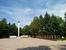 Сквер Победы с Аллеей героев окружен елями.