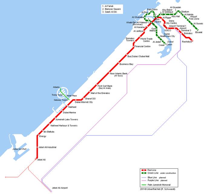 Карта метро Дубаи. Карта-схема