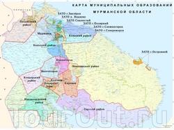 Карта районов Мурманской области