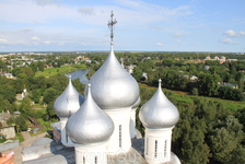 Вид на Купола Софийского Собора Вологды со звонницы Софийского же собора