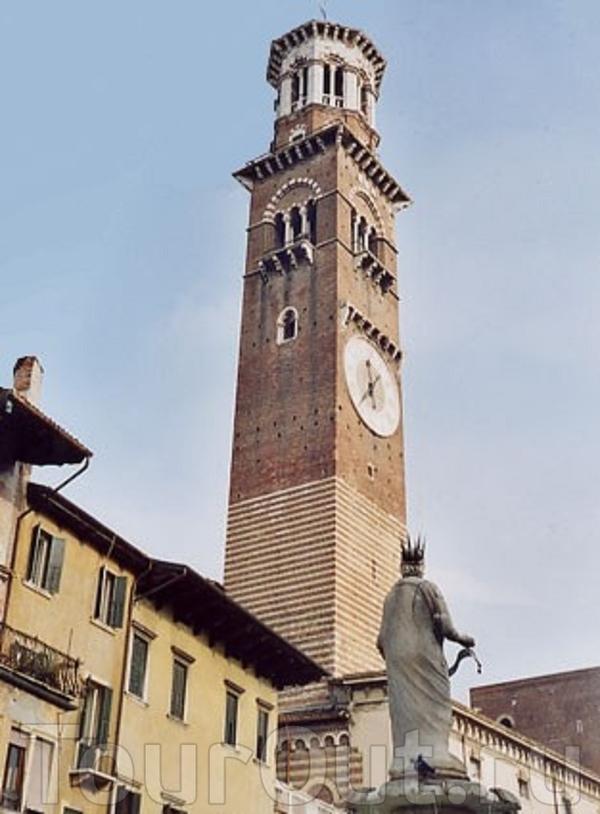"""Верона.Башня  Ламберти, высота 83 м,построена в 1172 году веронской  семьей  Ламберти. В  средние века Верону называли """"город башен"""". Для того,чтобы  власти, борющиеся с башнями, не снесли  ее, Ламберти  вовремя  продали ее  городу,после  чего власти ..."""