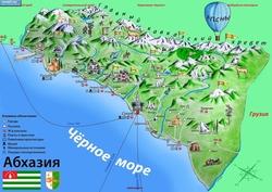 Скачать карта абхазии с достопримечательностями на русском языке
