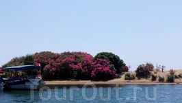 подплываем к Черепашьему пляжу Изтузу:с одной стороны пресные воды Дальяна ,  с другой - море