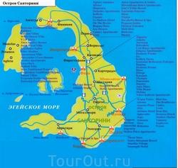Карта Санторини с отелями