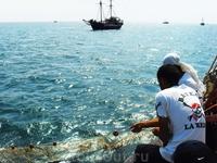 улов пиратский...не богат...поймали одного маленького крабика