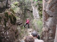 Медовые водопады; &quotТёщины ребра&quot в красной куртке - наш гид Олеся