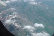 Летим в Испанию! Под крылом Альпы.