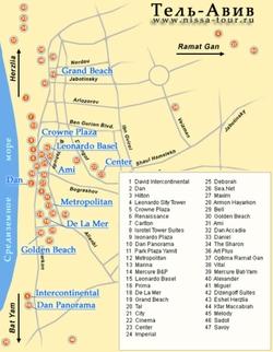Карта Тель Авива с отелями