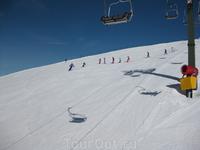 Маэстро и его группа начинающих лыжников