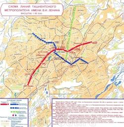 Схема линий метрополитена города Ташкента