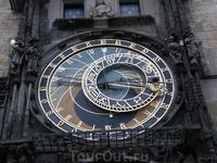 Пражские куранты, которые показывают время захода и восхода Солнца, положение знаков Зодиака, год, дату и время