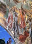 Фрагмент храмовой росписи - расправа горожан с дьяками, которых посчитали организаторами убийства царевича.