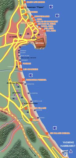 Карта Хаммамета на русском