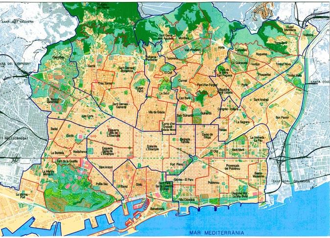 Карта районов Барселоны