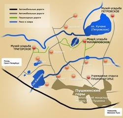 Карта Пушкинских гор