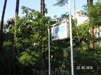 вход в отель Merhaba (в центре Алании) - славен своей зеленой территорией