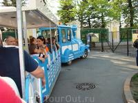Петергоф, продолжение поездки на паровозике =) охранница долго не открывала нам ворота, так как с её слов охрану не предупредили, что в Ночь музее по Петергофу будет ездить паровозик =)