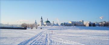 зимняя дорога через Волгу