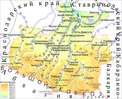 Карта Карачаево-Черкесии
