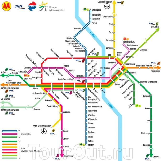 Карта метро Варшавы.