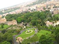 Вид с купола на Ватиканские сады