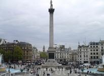 Trafalgar Square. Колонна в честь победы адмирала Нельсона в Трафальгарском сражении. Стелу венчает фигура Нельсона. Снизу не разгядеть.