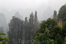 Юйпифэн - известняковые столпы Императорских Кистей, напоминающие традиционные кисти каллиграфов Китая. Один из символов заповедника.