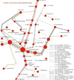 Схема транспортных маршрутов Кисловодска
