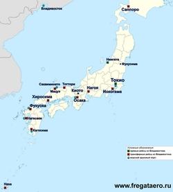 Карта Японии с городами