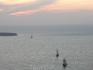 Ия, закат; долго ждал, когда все три кораблика будут на одной линии