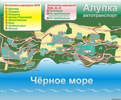 Карта Алупки с дорогами