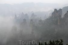 Тяньцзыге - с вершины этой горы в северной части заповедника открываются красивые виды на поросшую лесом долину с похожими на столбы скалами. Жаль, что ...