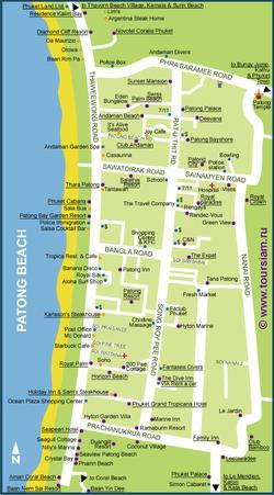 Карта Патонга с отелями