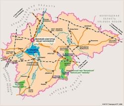 Карта Новгородской области с дорогами
