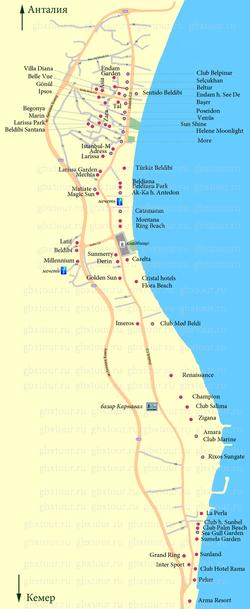 Карта Бельдиби с отелями