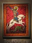 Картины из пуговиц в небольшом костеле в Сигулде